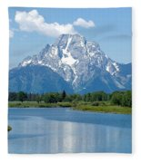 Mount Moran At Oxbow Bend Fleece Blanket