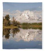 Mount Moran On Oxbow Bend Panorama Fleece Blanket