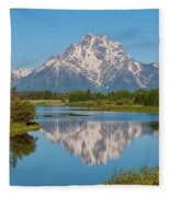 Mount Moran On Snake River Landscape Fleece Blanket