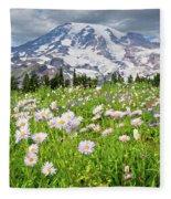 Mount Rainier And A Meadow Of Aster Fleece Blanket