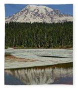 Mount Rainier Reflection Lake Fleece Blanket