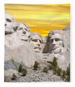 Mount Rushmore 11 Digital Art Fleece Blanket
