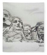 Mount Rushmore Graphite Pencil Sketch Fleece Blanket