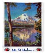 Mount Saint Helens Vintage Travel Poster Restored Fleece Blanket