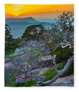 Mount Scott Sunset Fleece Blanket