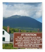 Mount Washington Nh Warning Sign Fleece Blanket