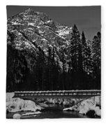 Mountain And Bridge Black And White Fleece Blanket