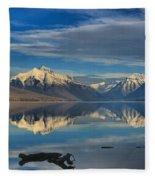 Mountain And Driftwood Reflections Fleece Blanket