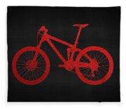 Mountain Bike - Red On Black Fleece Blanket