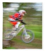 Mountain Bike Rider Fleece Blanket