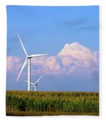 Mountain Clouds And Windmills Fleece Blanket