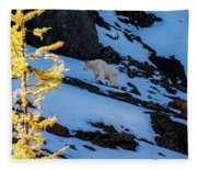 Mountain Goat And Larches Fleece Blanket