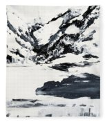 Mountain Lake In Black And White Fleece Blanket