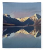 Mountain Lake Reflection Fleece Blanket