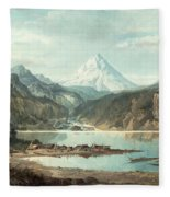 Mountain Landscape With Indians Fleece Blanket