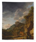 Mountain Landscape With River And Wagon Fleece Blanket