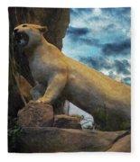 Mountain Lion - Paint Fx Fleece Blanket