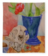 Mountain Lion Skull Tea And Tulips Fleece Blanket