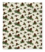 Mountain Lodge Cabin In The Forest - Home Decor Pine Cones Fleece Blanket