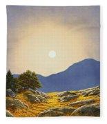 Mountain Meadow In Moonlight Fleece Blanket