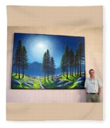 Mountain Moonglow Mural Winner Of The 2005 Coba Peoples Choice Award  Fleece Blanket