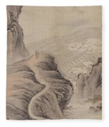 Mountain Path Landscape Ink Painting Fleece Blanket