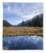 Mountain Pond And Sky Fleece Blanket