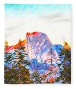 Mountain Range In Yosemite National Park Fleece Blanket