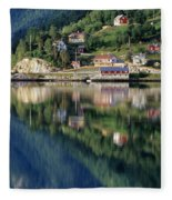 Mountain Reflected In Lake Fleece Blanket