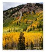 Mountain Side Autumn Fleece Blanket