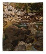 Mountain Stream With Boulders Fleece Blanket