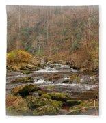 Mountain Stream With Vignette #2 Fleece Blanket