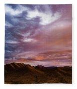 Mountain Sunset In New River Fleece Blanket