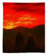 Mountain Sunset Fleece Blanket