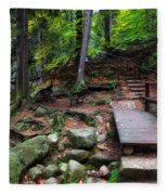 Mountain Trail With Staircase In Autumn Forest Fleece Blanket