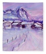 Mountain Village In Snow Fleece Blanket