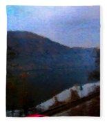 Mountain, Water And Road. Fleece Blanket