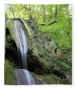 Mountain Waterfall Spring Nature Scene Fleece Blanket