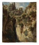 Mountainous Landscape With Waterfall Fleece Blanket