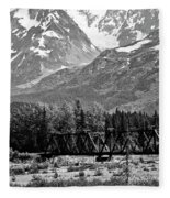 Mountains Alaska Bw Fleece Blanket