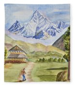 Mountains And Valley Fleece Blanket