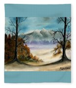 Mountains Landscape Oil Painting Fleece Blanket