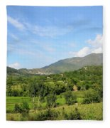 Mountains Sky And Homes In Village Of Swat Valley Khyber Pakhtoonkhwa Pakistan Fleece Blanket