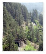 Mountains With Railroad And Tunnels  Fleece Blanket