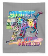 Mouse And Cat Friend Fleece Blanket