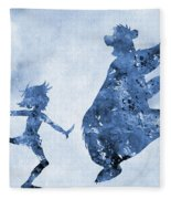 Mowgli And Baloo-blue Fleece Blanket
