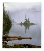 Mowich Lake In Fog  Fleece Blanket