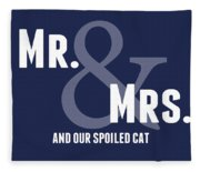 Mr And Mrs And Cat Fleece Blanket