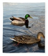 Mr And Mrs Duck On Parade Fleece Blanket