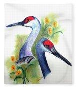 Mr And Mrs Sandhill Cranes Fleece Blanket